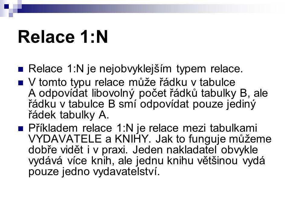 Relace 1:N Relace 1:N je nejobvyklejším typem relace.