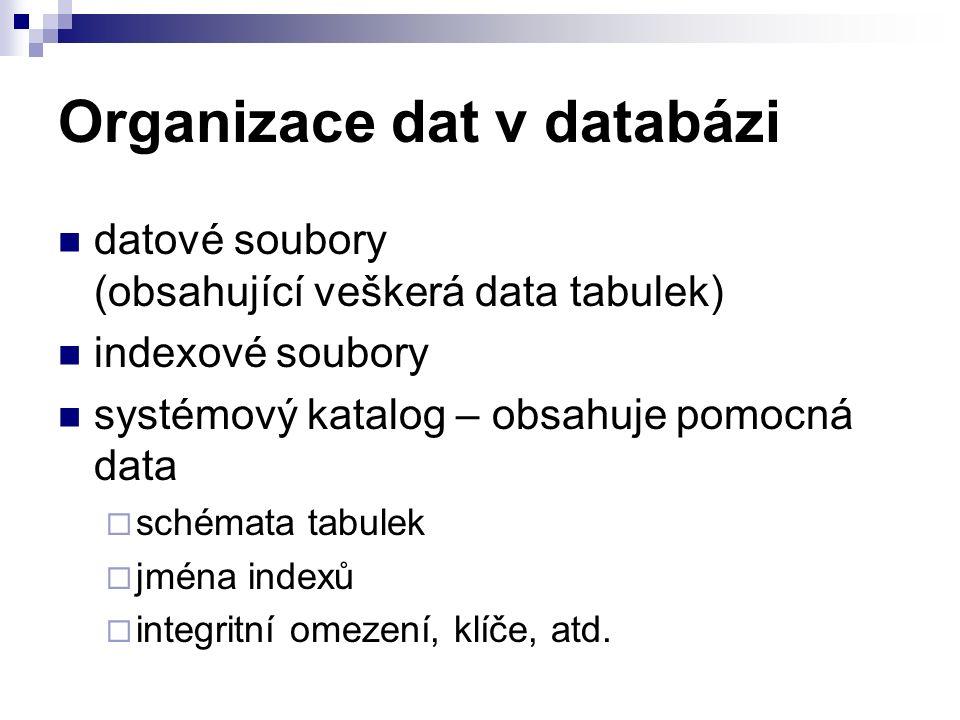 Organizace dat v databázi datové soubory (obsahující veškerá data tabulek) indexové soubory systémový katalog – obsahuje pomocná data  schémata tabulek  jména indexů  integritní omezení, klíče, atd.