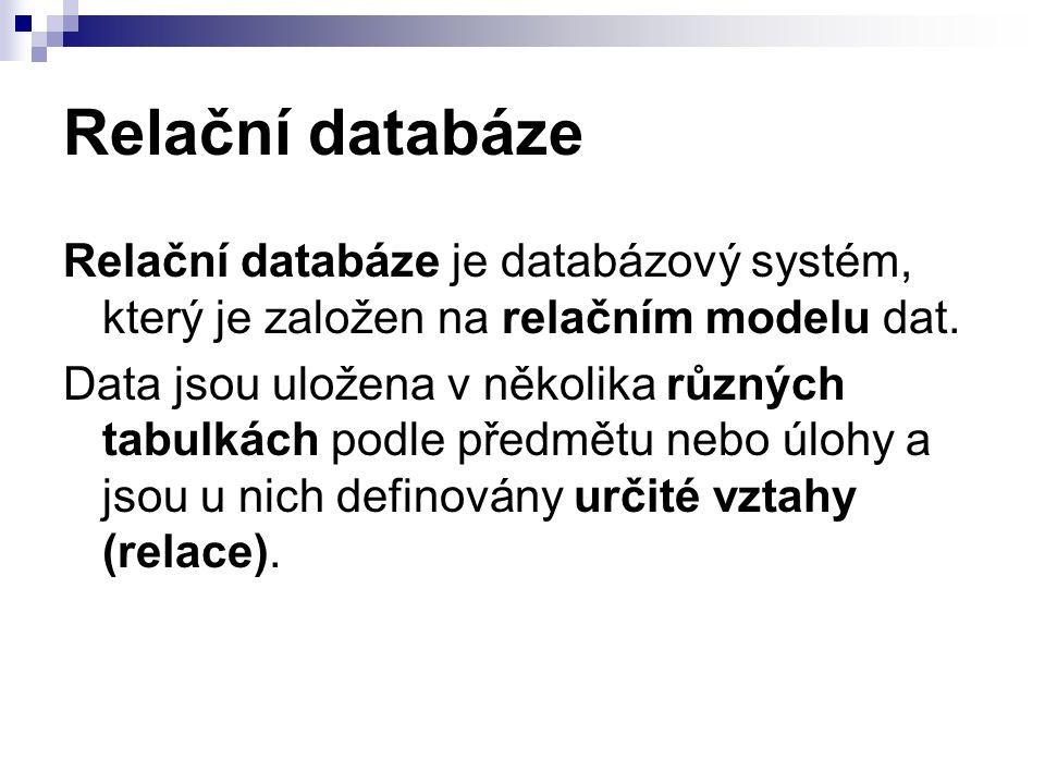 Tabulky Tabulka je základním stavebním kamenem pro budování celé databáze.stavebním Jeden řádek bývá často nazýván databázovým záznamem.