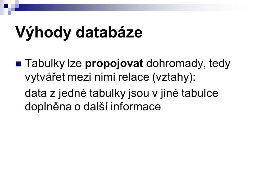 Výhody databáze Tabulky lze propojovat dohromady, tedy vytvářet mezi nimi relace (vztahy): data z jedné tabulky jsou v jiné tabulce doplněna o další informace