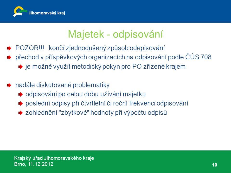 Krajský úřad Jihomoravského kraje Brno, 11.12.2012 Majetek - odpisování POZOR!!! končí zjednodušený způsob odepisování přechod v příspěvkových organiz