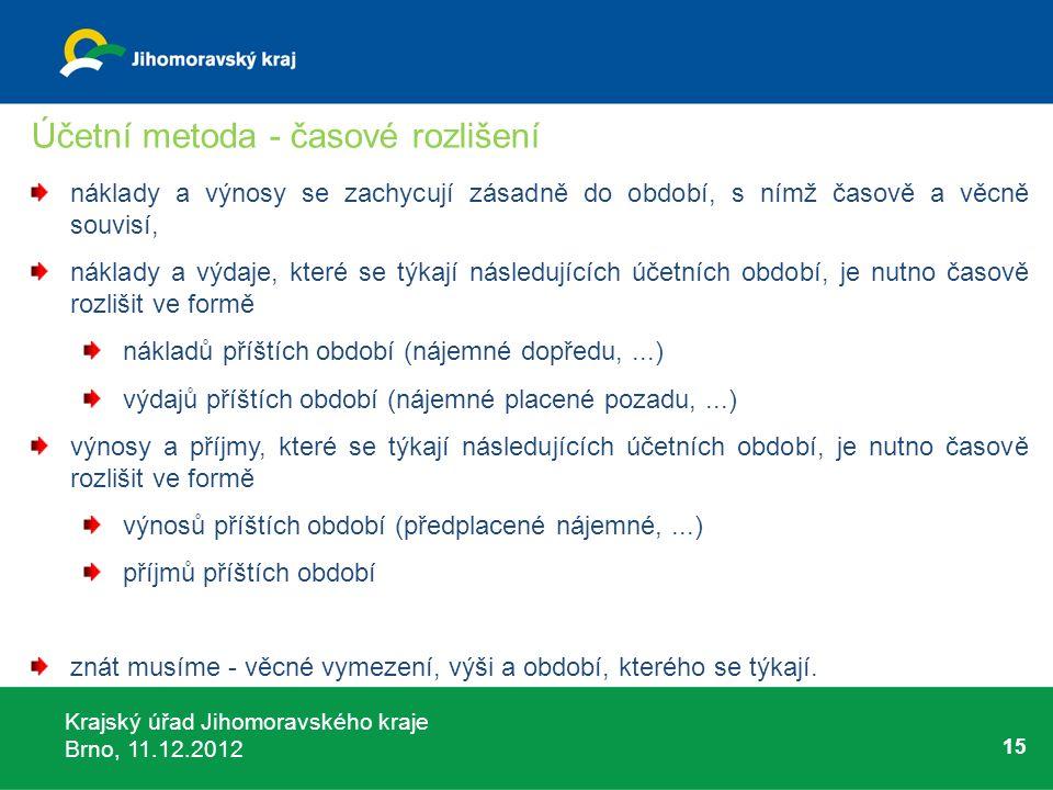 Krajský úřad Jihomoravského kraje Brno, 11.12.2012 15 Účetní metoda - časové rozlišení náklady a výnosy se zachycují zásadně do období, s nímž časově