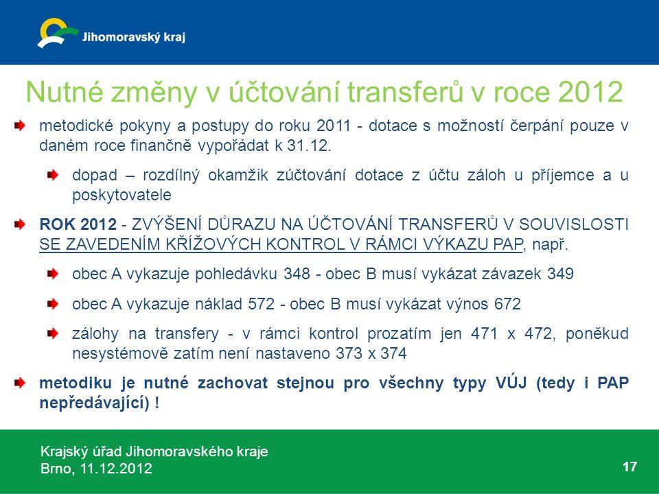 Krajský úřad Jihomoravského kraje Brno, 11.12.2012 17 Nutné změny v účtování transferů v roce 2012 metodické pokyny a postupy do roku 2011 - dotace s