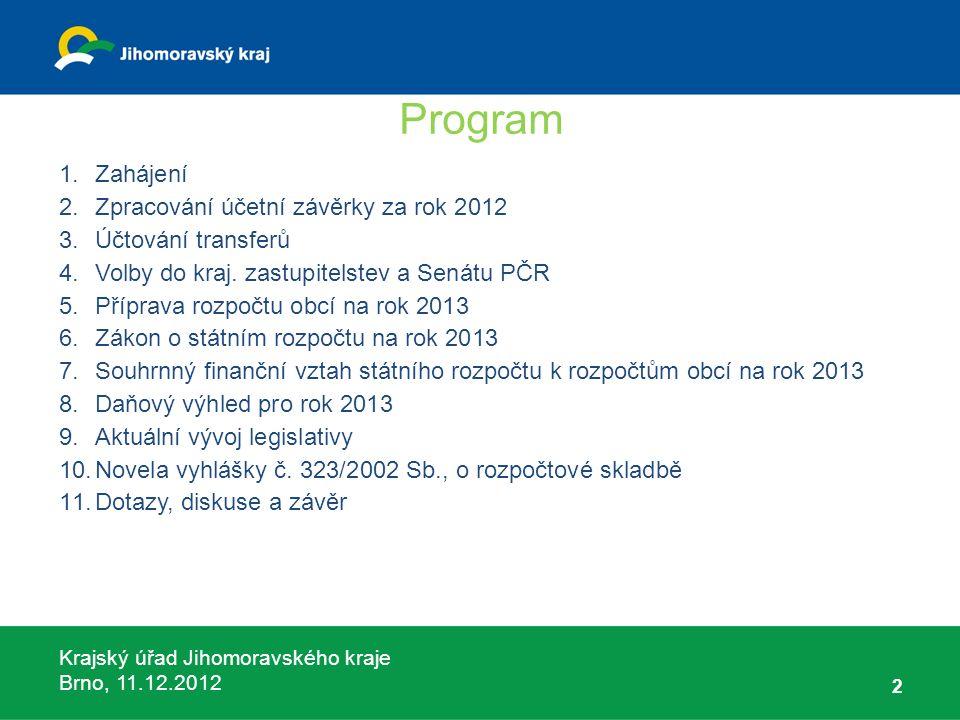 Krajský úřad Jihomoravského kraje Brno, 11.12.2012 23 Účtování krajské neinvestiční dotace s použitím do 31.12.