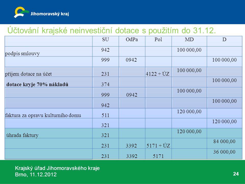 Krajský úřad Jihomoravského kraje Brno, 11.12.2012 24 Účtování krajské neinvestiční dotace s použitím do 31.12.