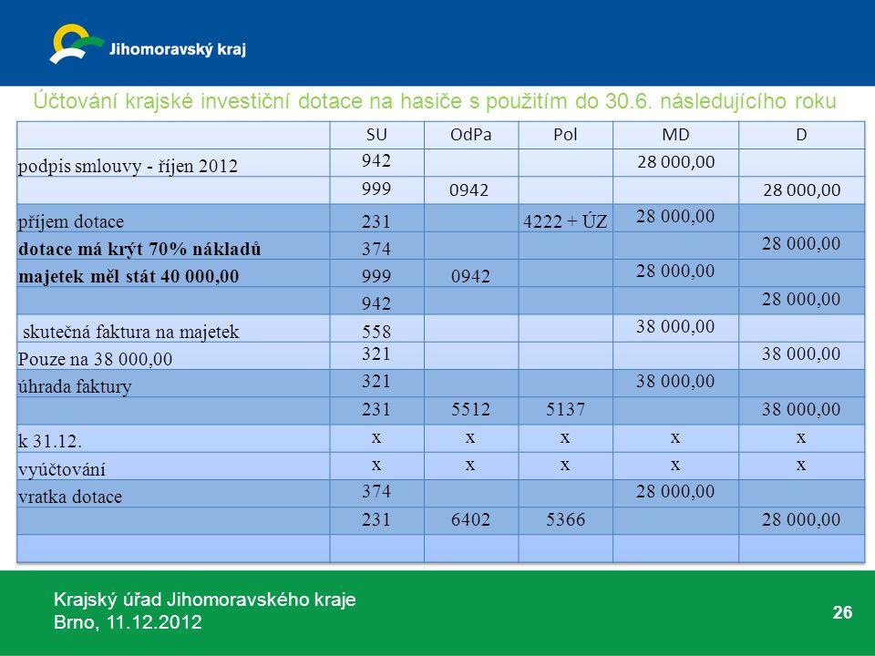 Krajský úřad Jihomoravského kraje Brno, 11.12.2012 26 Účtování krajské investiční dotace na hasiče s použitím do 30.6. následujícího roku
