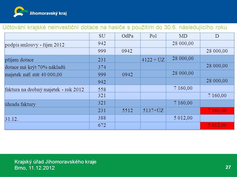 Krajský úřad Jihomoravského kraje Brno, 11.12.2012 27 Účtování krajské neinvestiční dotace na hasiče s použitím do 30.6. následujícího roku