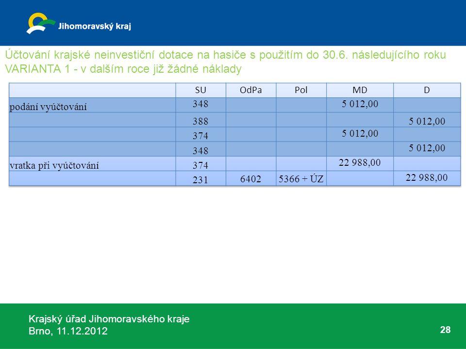 Krajský úřad Jihomoravského kraje Brno, 11.12.2012 28 Účtování krajské neinvestiční dotace na hasiče s použitím do 30.6. následujícího roku VARIANTA 1