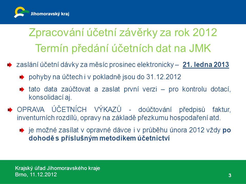 Krajský úřad Jihomoravského kraje Brno, 11.12.2012 3 Zpracování účetní závěrky za rok 2012 Termín předání účetních dat na JMK zaslání účetní dávky za