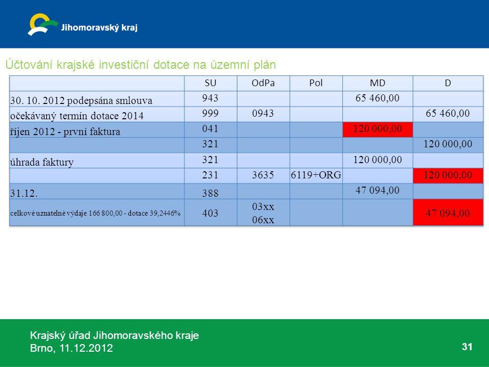 Krajský úřad Jihomoravského kraje Brno, 11.12.2012 31 Účtování krajské investiční dotace na územní plán