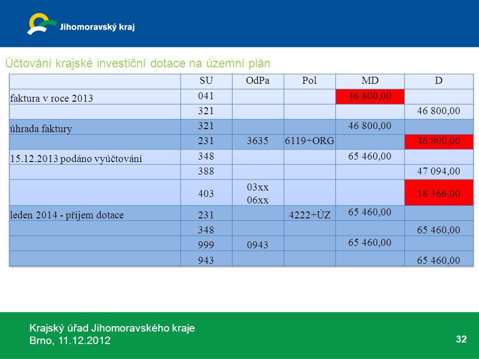 Krajský úřad Jihomoravského kraje Brno, 11.12.2012 32 Účtování krajské investiční dotace na územní plán