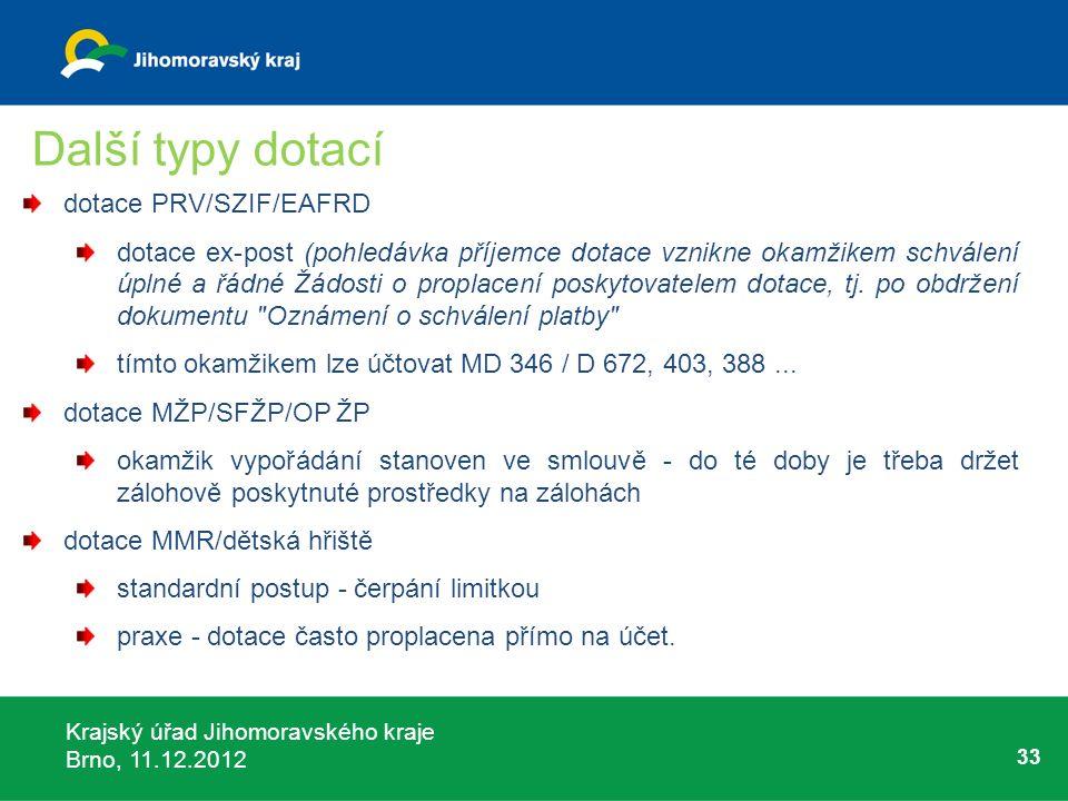 Krajský úřad Jihomoravského kraje Brno, 11.12.2012 33 Další typy dotací dotace PRV/SZIF/EAFRD dotace ex-post (pohledávka příjemce dotace vznikne okamž