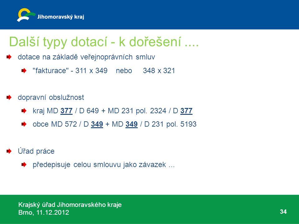 Krajský úřad Jihomoravského kraje Brno, 11.12.2012 34 Další typy dotací - k dořešení.... dotace na základě veřejnoprávních smluv