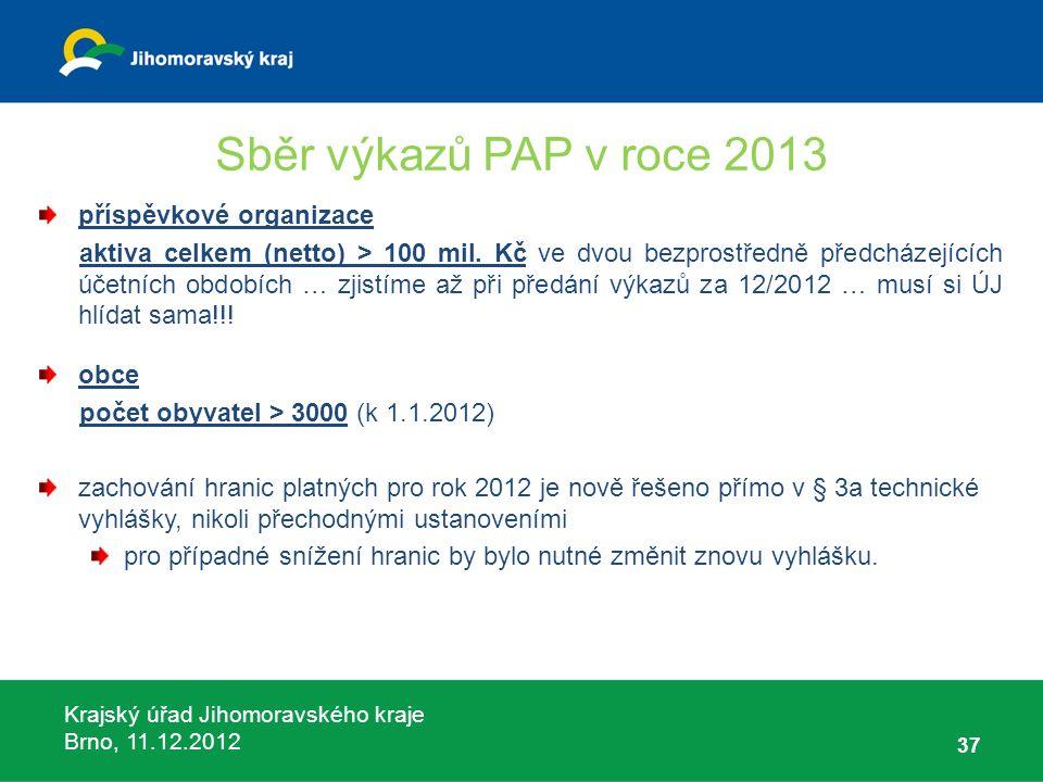 Krajský úřad Jihomoravského kraje Brno, 11.12.2012 Sběr výkazů PAP v roce 2013 příspěvkové organizace aktiva celkem (netto) > 100 mil. Kč ve dvou bezp