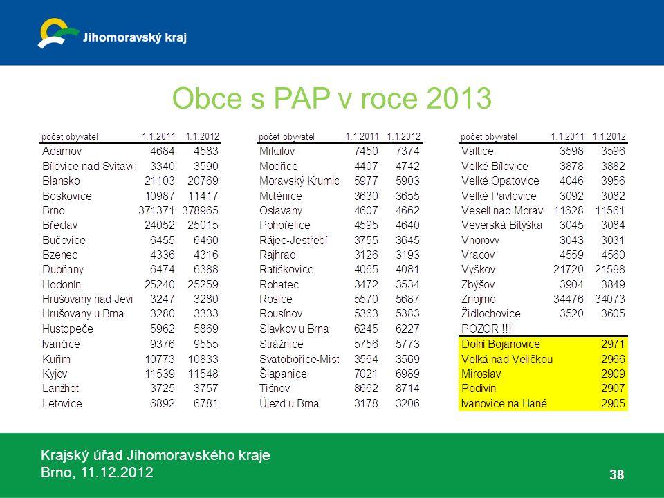 Krajský úřad Jihomoravského kraje Brno, 11.12.2012 Obce s PAP v roce 2013 38