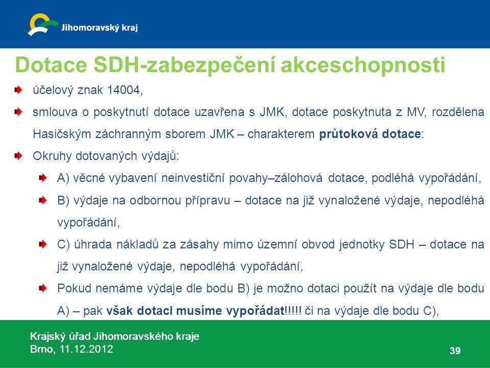 Krajský úřad Jihomoravského kraje Brno, 11.12.2012 Dotace SDH-zabezpečení akceschopnosti účelový znak 14004, smlouva o poskytnutí dotace uzavřena s JM