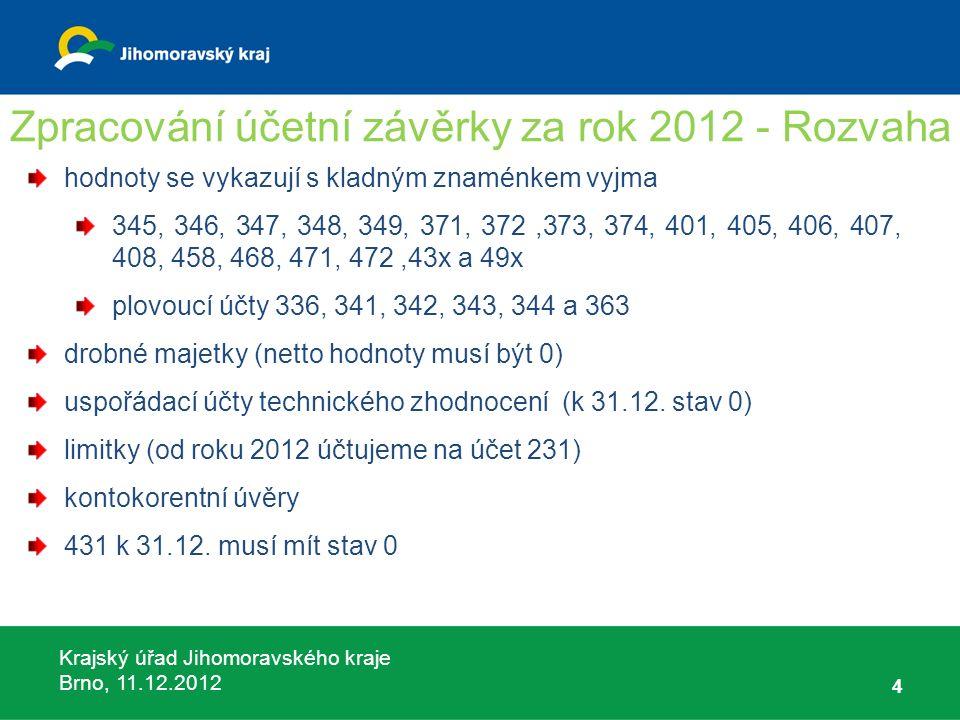 Krajský úřad Jihomoravského kraje Brno, 11.12.2012 5 Zpracování účetní závěrky za rok 2012 - VZZ POZOR na využívání závazných analytik hlavní činnost x hospodářská činnost změny v používání účtů bankovní poplatky (účet 518), neživotní pojištění (účet 549) aktivace - minusový náklad (účet 506, 507, 508) drobné majetky (účet 558) daň z příjmů za obec ( odhad daňového přiznání do nákladů 591/341)
