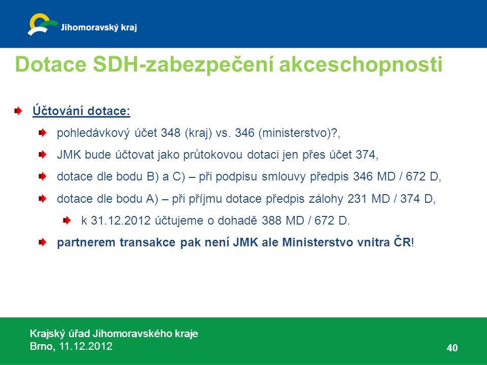 Krajský úřad Jihomoravského kraje Brno, 11.12.2012 Dotace SDH-zabezpečení akceschopnosti Účtování dotace: pohledávkový účet 348 (kraj) vs. 346 (minist