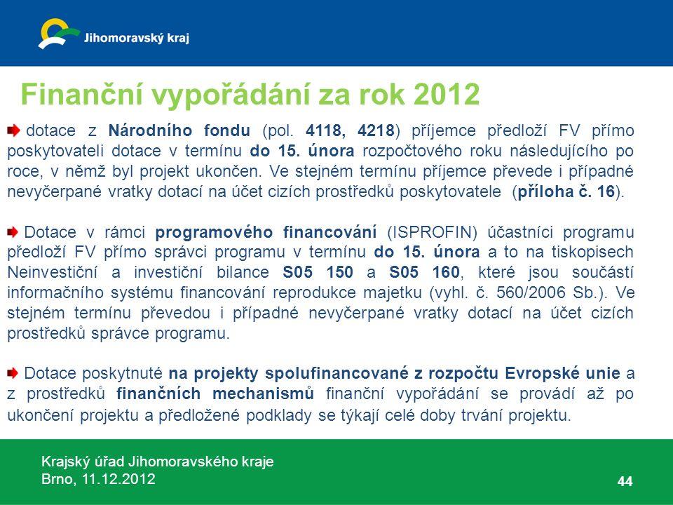 Krajský úřad Jihomoravského kraje Brno, 11.12.2012 44 dotace z Národního fondu (pol. 4118, 4218) příjemce předloží FV přímo poskytovateli dotace v ter