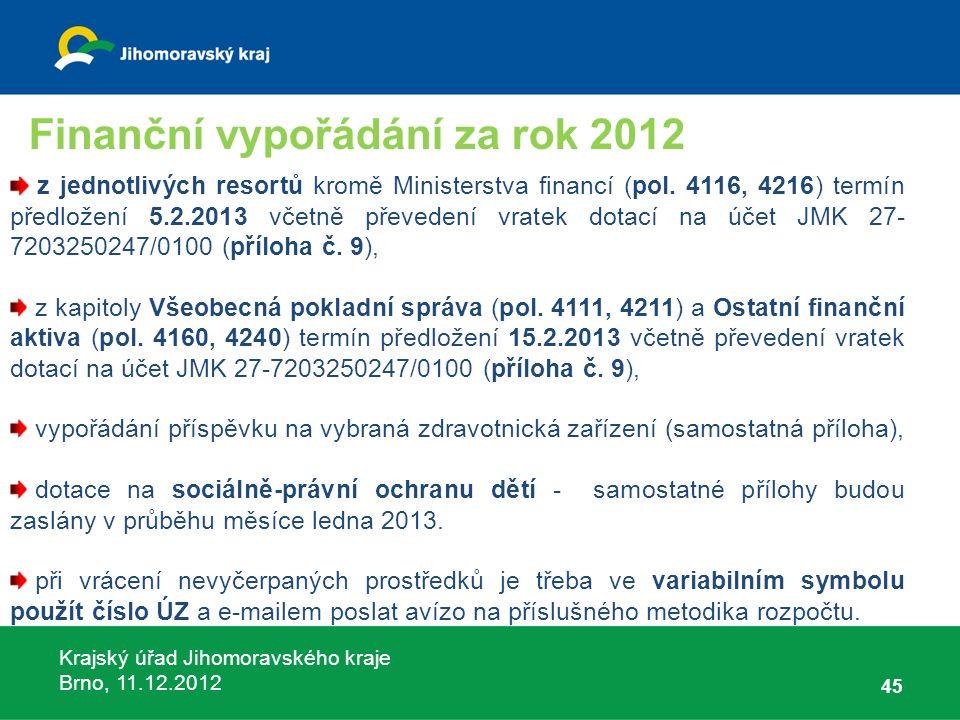 Krajský úřad Jihomoravského kraje Brno, 11.12.2012 45 z jednotlivých resortů kromě Ministerstva financí (pol. 4116, 4216) termín předložení 5.2.2013 v