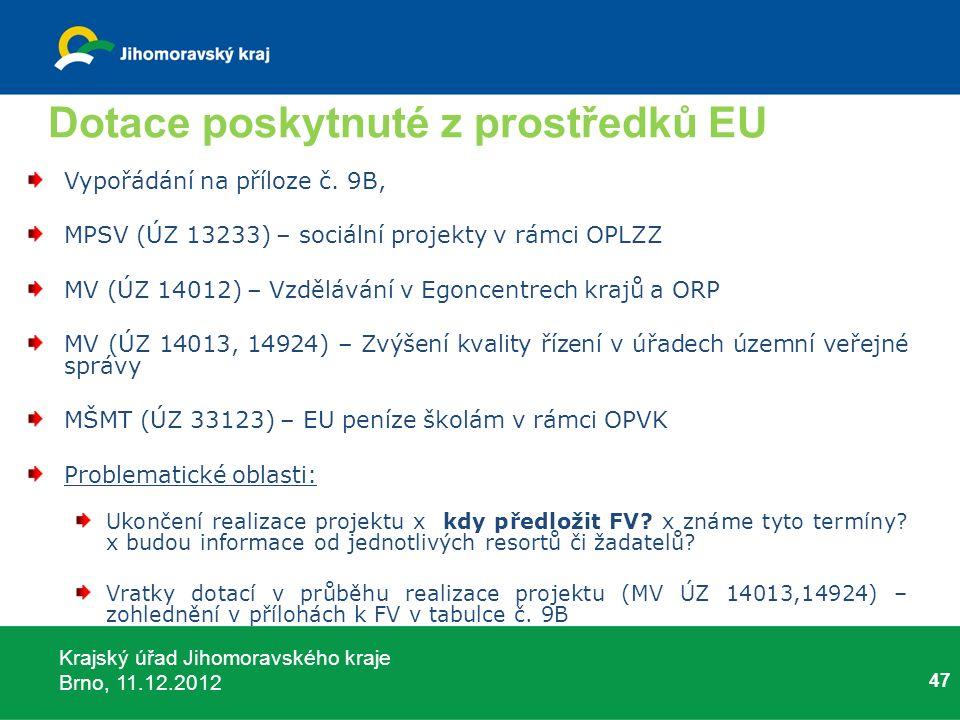 Krajský úřad Jihomoravského kraje Brno, 11.12.2012 Dotace poskytnuté z prostředků EU Vypořádání na příloze č. 9B, MPSV (ÚZ 13233) – sociální projekty