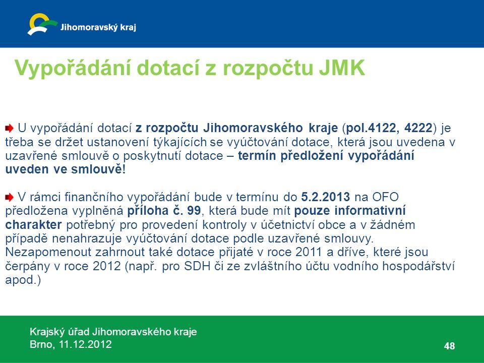 Krajský úřad Jihomoravského kraje Brno, 11.12.2012 48 U vypořádání dotací z rozpočtu Jihomoravského kraje (pol.4122, 4222) je třeba se držet ustanoven