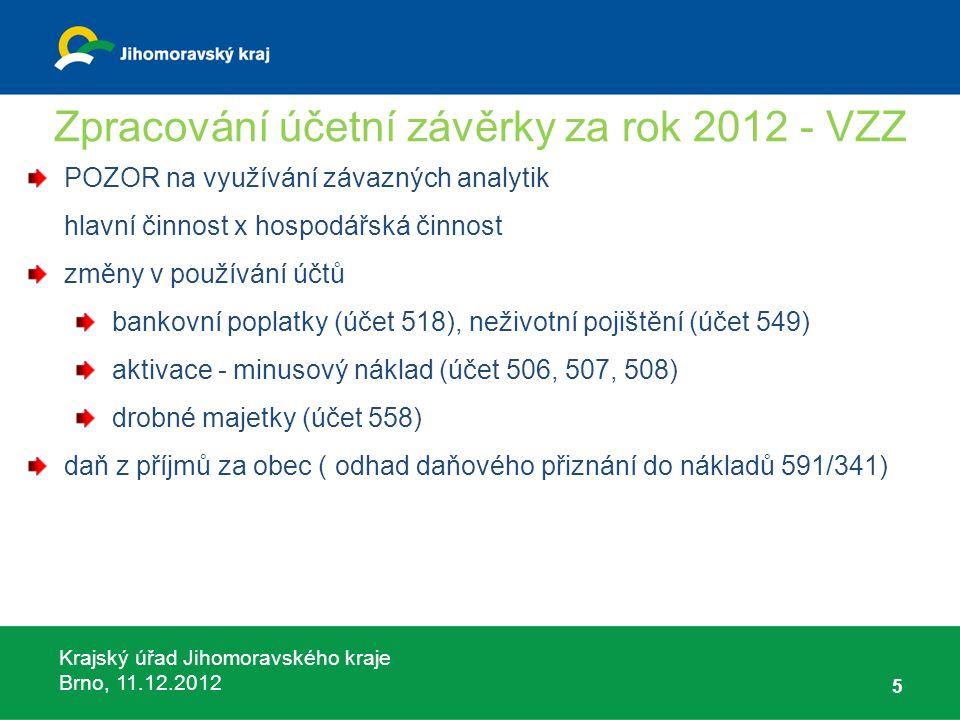 Krajský úřad Jihomoravského kraje Brno, 11.12.2012 5 Zpracování účetní závěrky za rok 2012 - VZZ POZOR na využívání závazných analytik hlavní činnost