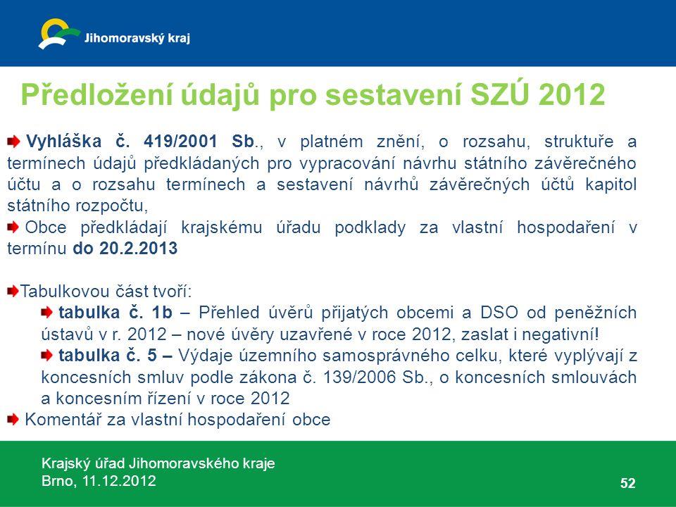 Krajský úřad Jihomoravského kraje Brno, 11.12.2012 52 Vyhláška č. 419/2001 Sb., v platném znění, o rozsahu, struktuře a termínech údajů předkládaných