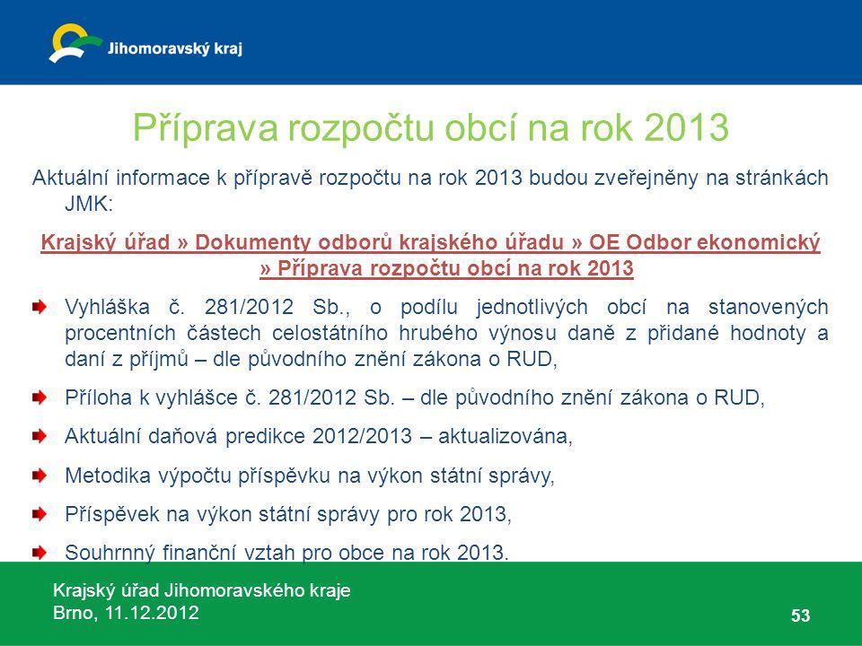 Krajský úřad Jihomoravského kraje Brno, 11.12.2012 Příprava rozpočtu obcí na rok 2013 Aktuální informace k přípravě rozpočtu na rok 2013 budou zveřejn