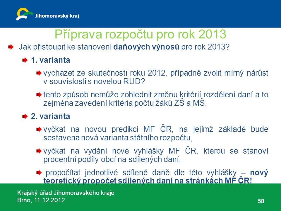 Krajský úřad Jihomoravského kraje Brno, 11.12.2012 Příprava rozpočtu pro rok 2013 Jak přistoupit ke stanovení daňových výnosů pro rok 2013? 1. variant
