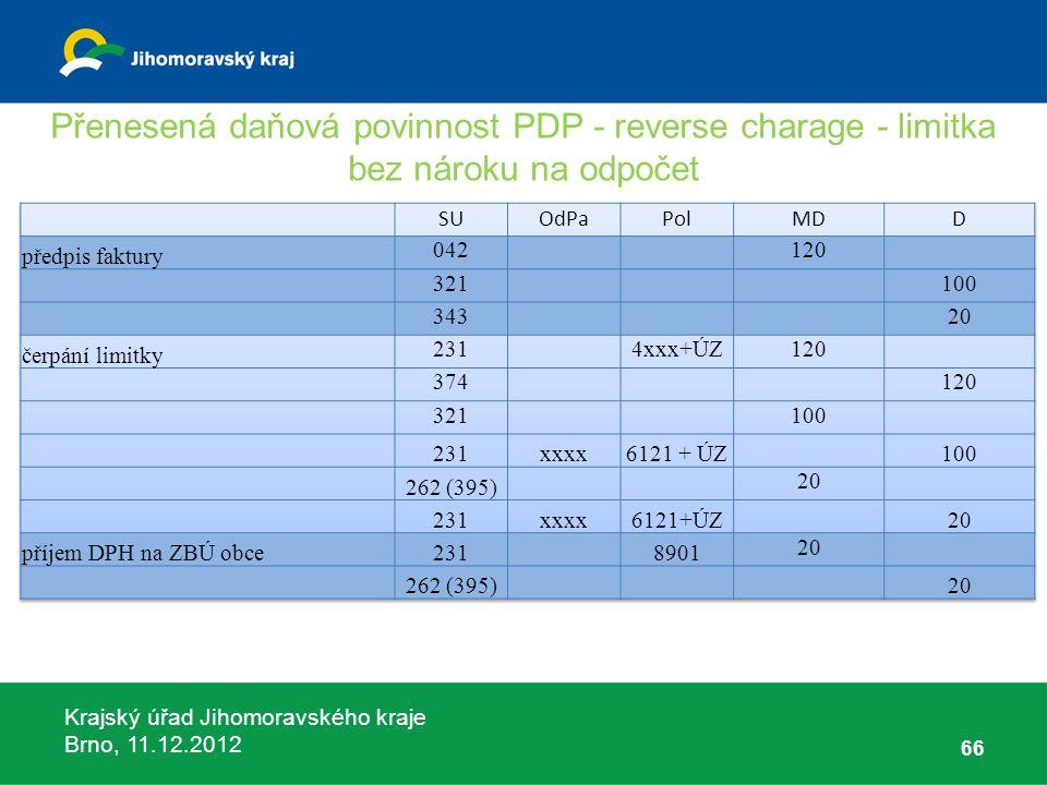 Krajský úřad Jihomoravského kraje Brno, 11.12.2012 Přenesená daňová povinnost PDP - reverse charage - limitka bez nároku na odpočet 66
