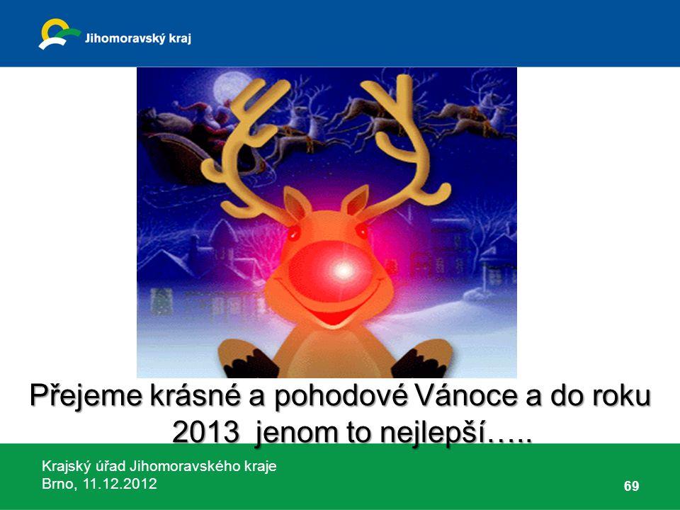 Krajský úřad Jihomoravského kraje Brno, 11.12.2012 Přejeme krásné a pohodové Vánoce a do roku 2013 jenom to nejlepší….. 69
