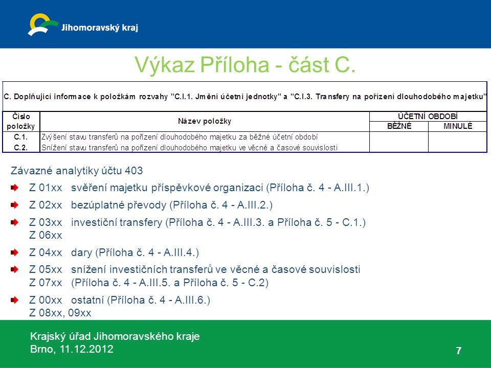 Krajský úřad Jihomoravského kraje Brno, 11.12.2012 8 Výkaz Příloha - část C.