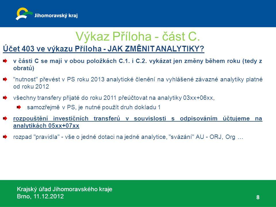 Krajský úřad Jihomoravského kraje Brno, 11.12.2012 Dotace SDH-zabezpečení akceschopnosti účelový znak 14004, smlouva o poskytnutí dotace uzavřena s JMK, dotace poskytnuta z MV, rozdělena Hasičským záchranným sborem JMK – charakterem průtoková dotace: Okruhy dotovaných výdajů: A) věcné vybavení neinvestiční povahy–zálohová dotace, podléhá vypořádání, B) výdaje na odbornou přípravu – dotace na již vynaložené výdaje, nepodléhá vypořádání, C) úhrada nákladů za zásahy mimo územní obvod jednotky SDH – dotace na již vynaložené výdaje, nepodléhá vypořádání, Pokud nemáme výdaje dle bodu B) je možno dotaci použít na výdaje dle bodu A) – pak však dotaci musíme vypořádat!!!!.