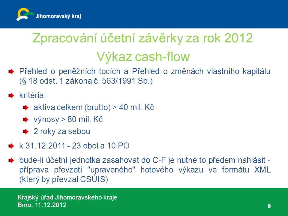 Krajský úřad Jihomoravského kraje Brno, 11.12.2012 9 Zpracování účetní závěrky za rok 2012 Výkaz cash-flow Přehled o peněžních tocích a Přehled o změn
