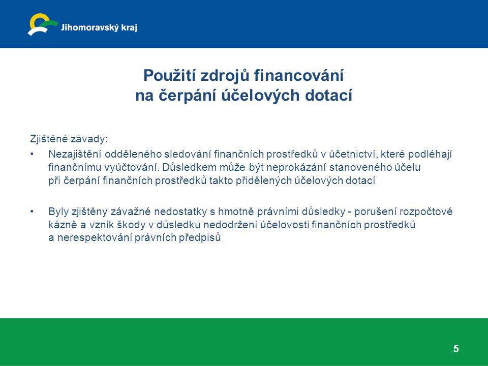 Použití zdrojů financování na čerpání účelových dotací Zjištěné závady: Nezajištění odděleného sledování finančních prostředků v účetnictví, které pod