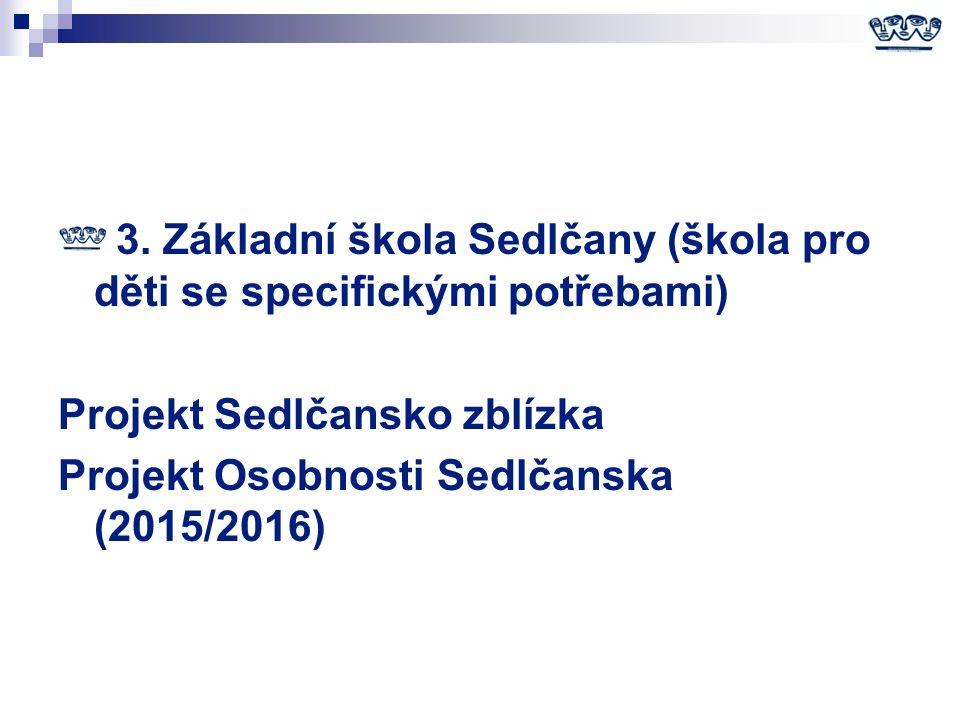 3. Základní škola Sedlčany (škola pro děti se specifickými potřebami) Projekt Sedlčansko zblízka Projekt Osobnosti Sedlčanska (2015/2016)