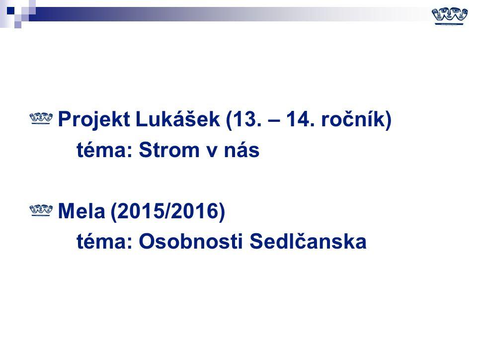 Projekt Lukášek (13. – 14. ročník) téma: Strom v nás Mela (2015/2016) téma: Osobnosti Sedlčanska