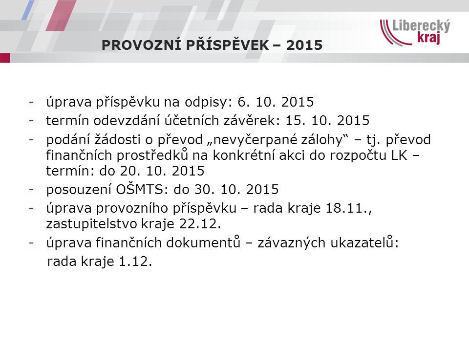 PROVOZNÍ PŘÍSPĚVEK – 2015 -úprava příspěvku na odpisy: 6.
