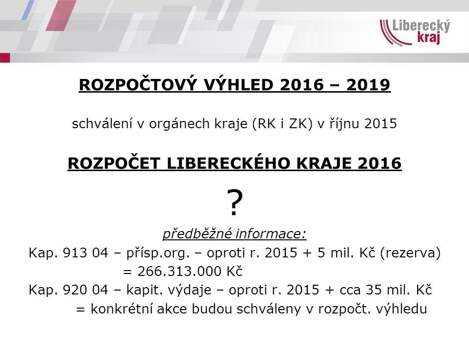 ROZPOČTOVÝ VÝHLED 2016 – 2019 schválení v orgánech kraje (RK i ZK) v říjnu 2015 ROZPOČET LIBERECKÉHO KRAJE 2016 .