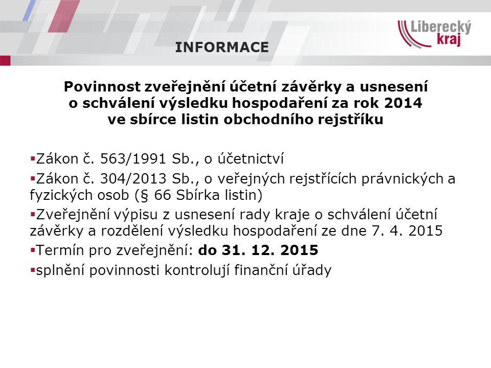Povinnost zveřejnění účetní závěrky a usnesení o schválení výsledku hospodaření za rok 2014 ve sbírce listin obchodního rejstříku  Zákon č.
