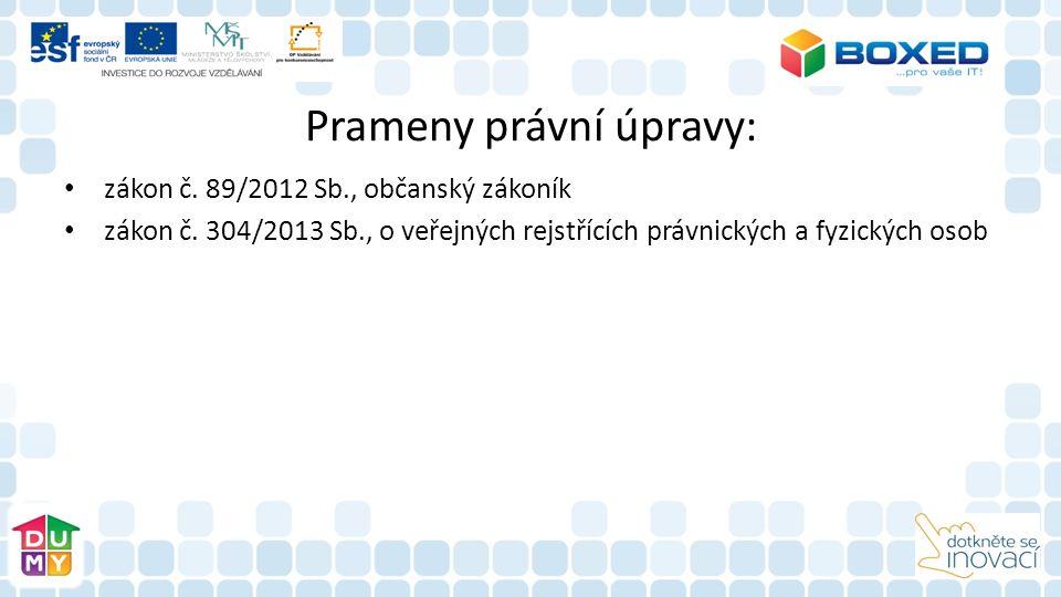 Prameny právní úpravy: zákon č. 89/2012 Sb., občanský zákoník zákon č.