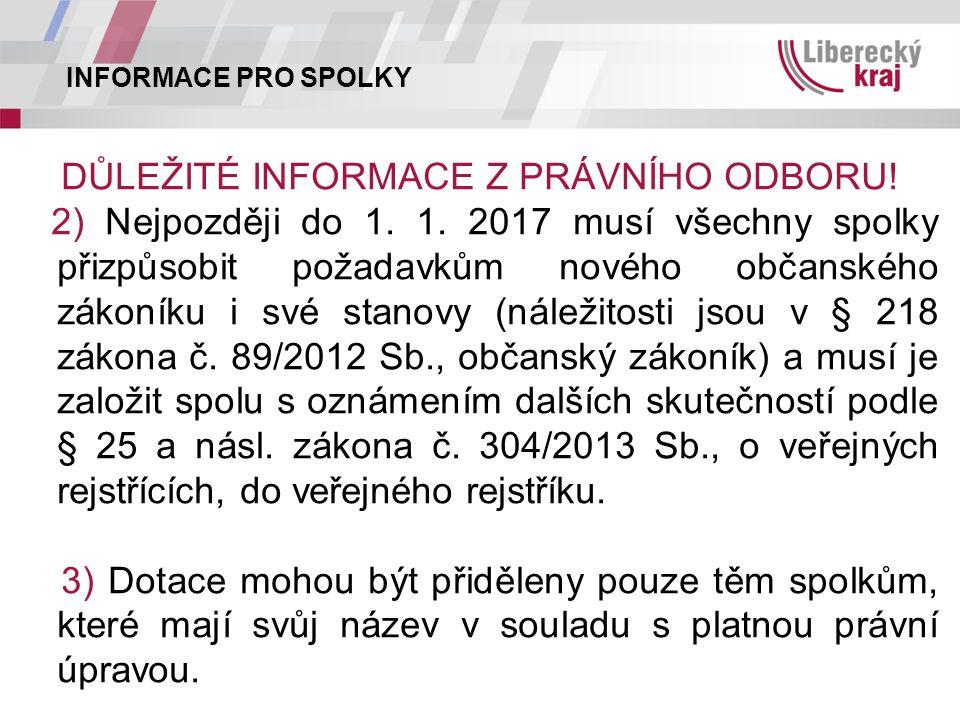 INFORMACE PRO SPOLKY DŮLEŽITÉ INFORMACE Z PRÁVNÍHO ODBORU.