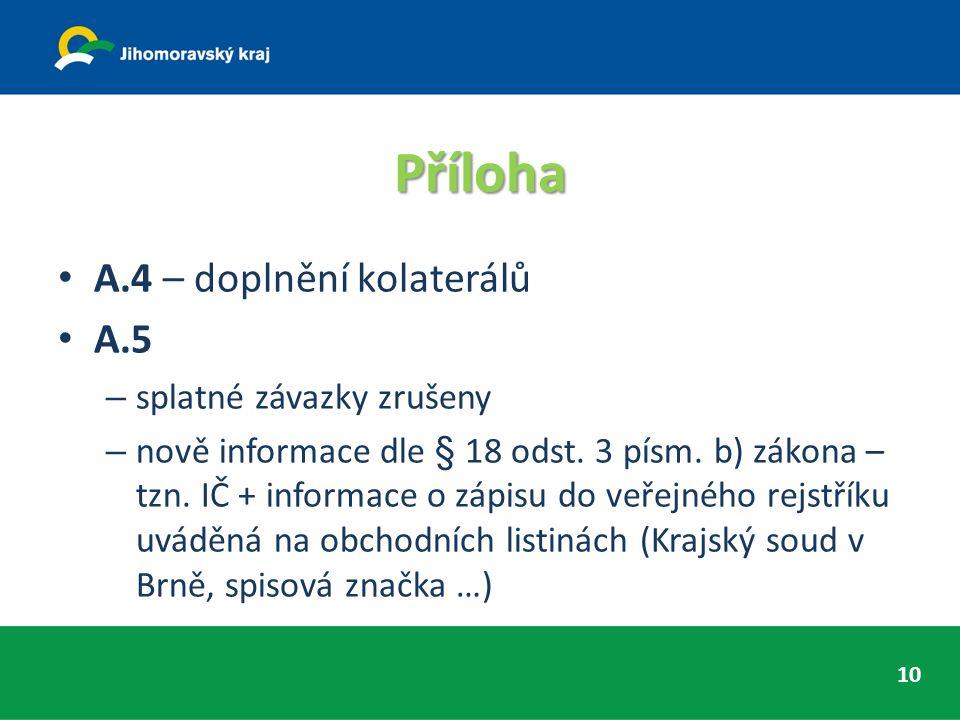 Příloha A.4 – doplnění kolaterálů A.5 – splatné závazky zrušeny – nově informace dle § 18 odst.
