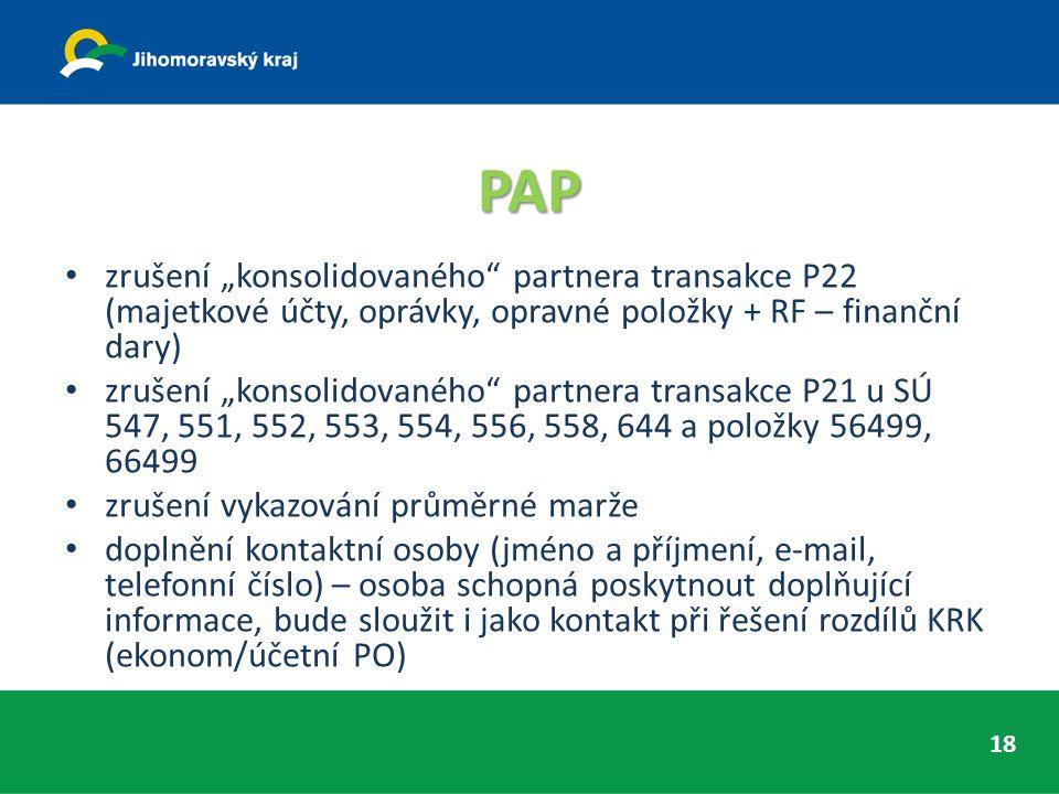 """PAP zrušení """"konsolidovaného partnera transakce P22 (majetkové účty, oprávky, opravné položky + RF – finanční dary) zrušení """"konsolidovaného partnera transakce P21 u SÚ 547, 551, 552, 553, 554, 556, 558, 644 a položky 56499, 66499 zrušení vykazování průměrné marže doplnění kontaktní osoby (jméno a příjmení, e-mail, telefonní číslo) – osoba schopná poskytnout doplňující informace, bude sloužit i jako kontakt při řešení rozdílů KRK (ekonom/účetní PO) 18"""
