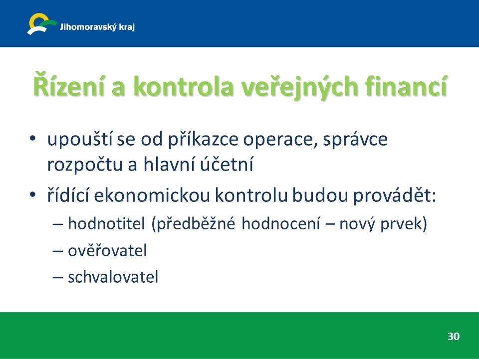 Řízení a kontrola veřejných financí upouští se od příkazce operace, správce rozpočtu a hlavní účetní řídící ekonomickou kontrolu budou provádět: – hodnotitel (předběžné hodnocení – nový prvek) – ověřovatel – schvalovatel 30