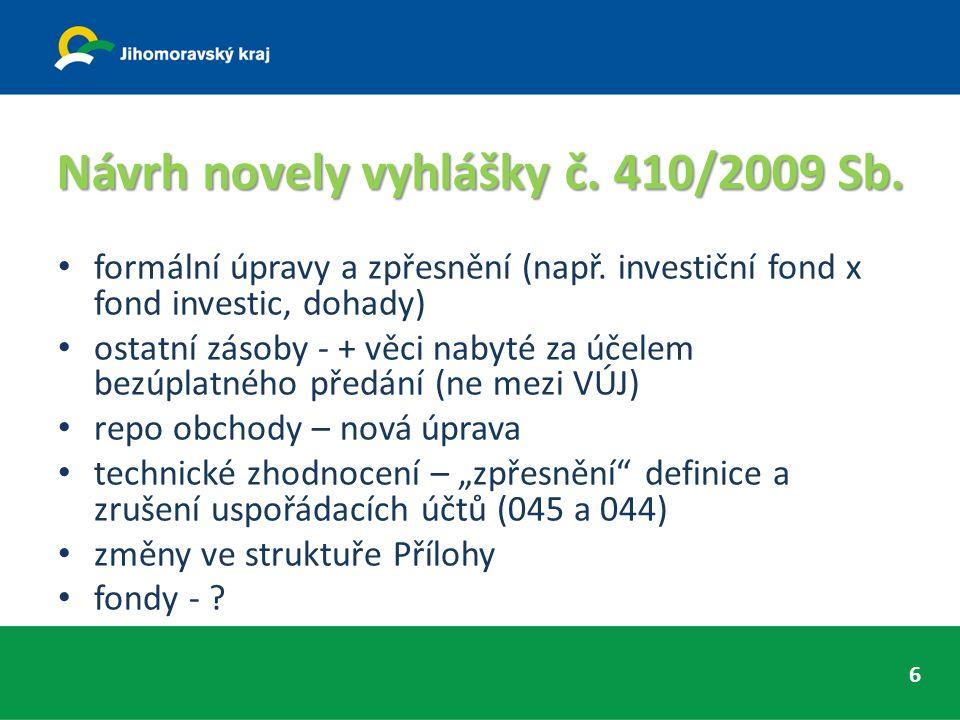 Návrh novely vyhlášky č. 410/2009 Sb. formální úpravy a zpřesnění (např.