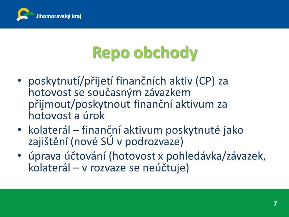 Repo obchody poskytnutí/přijetí finančních aktiv (CP) za hotovost se současným závazkem přijmout/poskytnout finanční aktivum za hotovost a úrok kolaterál – finanční aktivum poskytnuté jako zajištění (nové SÚ v podrozvaze) úprava účtování (hotovost x pohledávka/závazek, kolaterál – v rozvaze se neúčtuje) 7