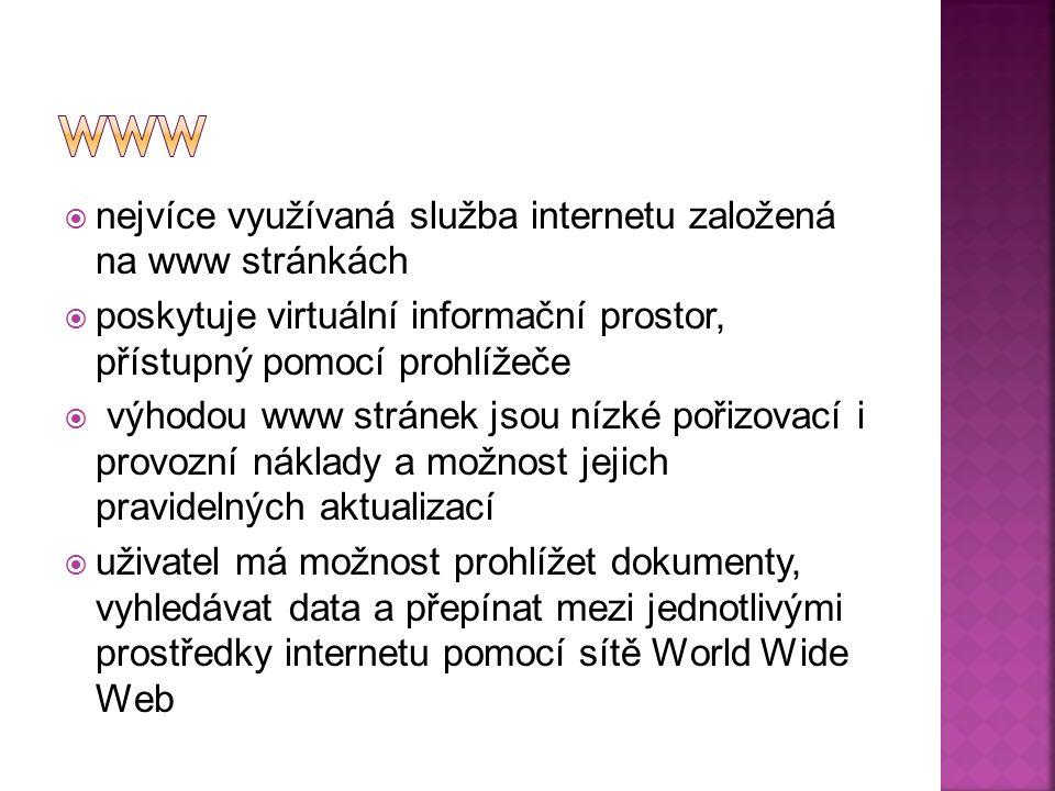 nejvíce využívaná služba internetu založená na www stránkách  poskytuje virtuální informační prostor, přístupný pomocí prohlížeče  výhodou www stránek jsou nízké pořizovací i provozní náklady a možnost jejich pravidelných aktualizací  uživatel má možnost prohlížet dokumenty, vyhledávat data a přepínat mezi jednotlivými prostředky internetu pomocí sítě World Wide Web