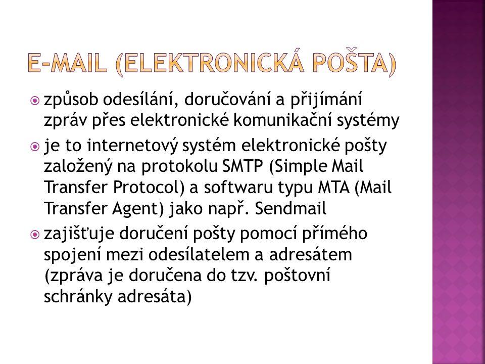  způsob odesílání, doručování a přijímání zpráv přes elektronické komunikační systémy  je to internetový systém elektronické pošty založený na protokolu SMTP (Simple Mail Transfer Protocol) a softwaru typu MTA (Mail Transfer Agent) jako např.